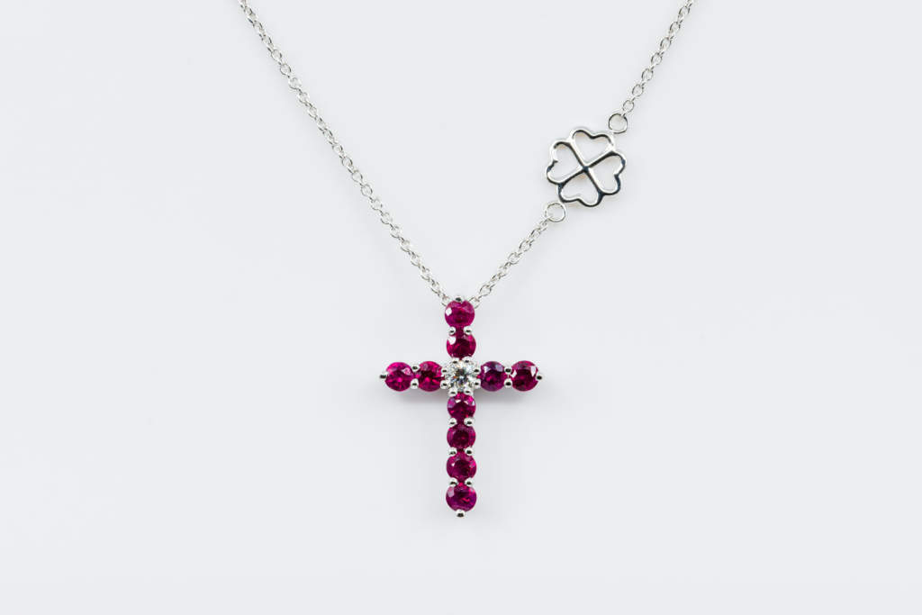 Collana Croce Fidelis bianco rubini - Gioielleria Casavola Noci - regalo battesimo - grande