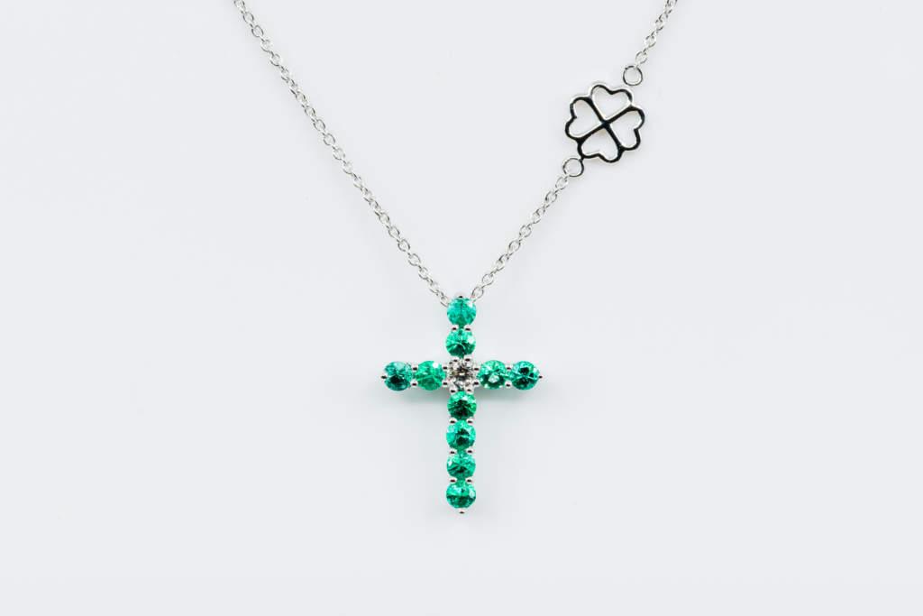 Collana Croce Fidelis bianco smeraldi - Gioielleria Casavola Noci - Regalo battesimo - Misura grande