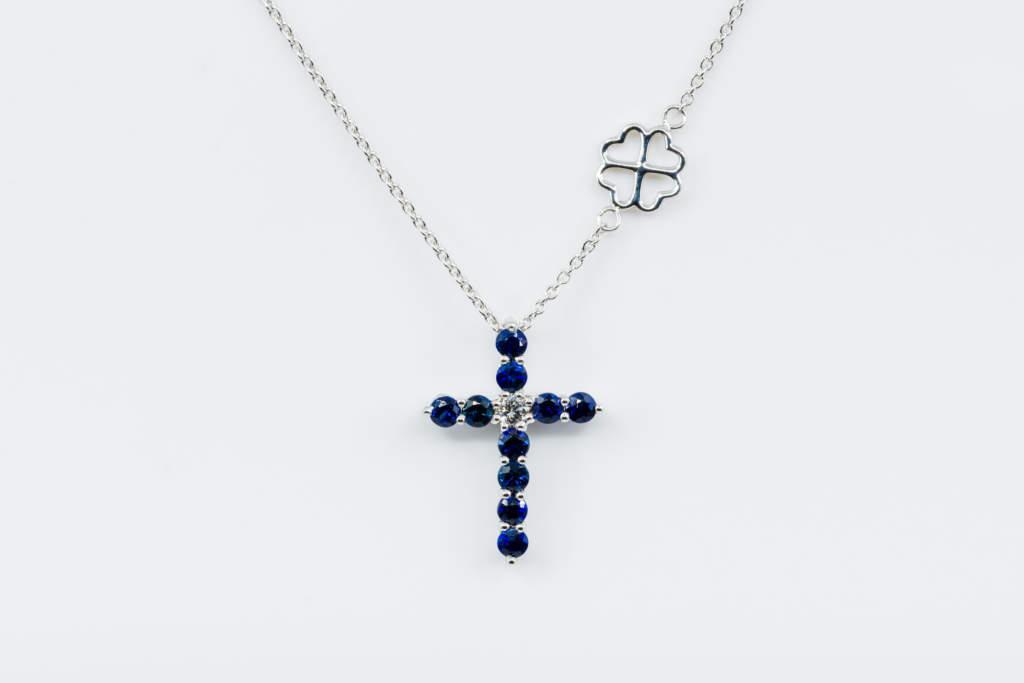 Collana Croce Fidelis bianco zaffiri - Casavola - Gioiellieri dal 1882 - Noci - Misura Grande - Regalo battesimo