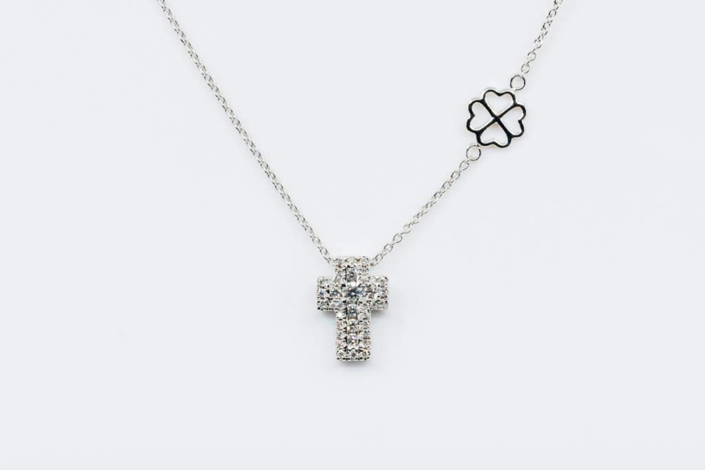 Collana croce Angelus bianco diamanti - Gioielleria Casavola Noci - Idea regalo battesimo