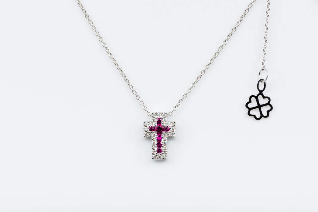 Collana croce Angelus bianco rubini - Gioielleria Casavola Noci - idea regalo battesimo - oro diamanti