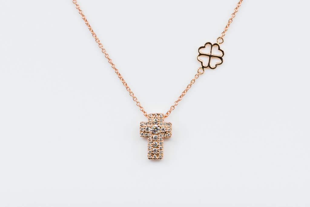 Collana croce Angelus rose diamanti - Gioielleria Casavola Noci - Idea regalo battesimo oro rosa bambini