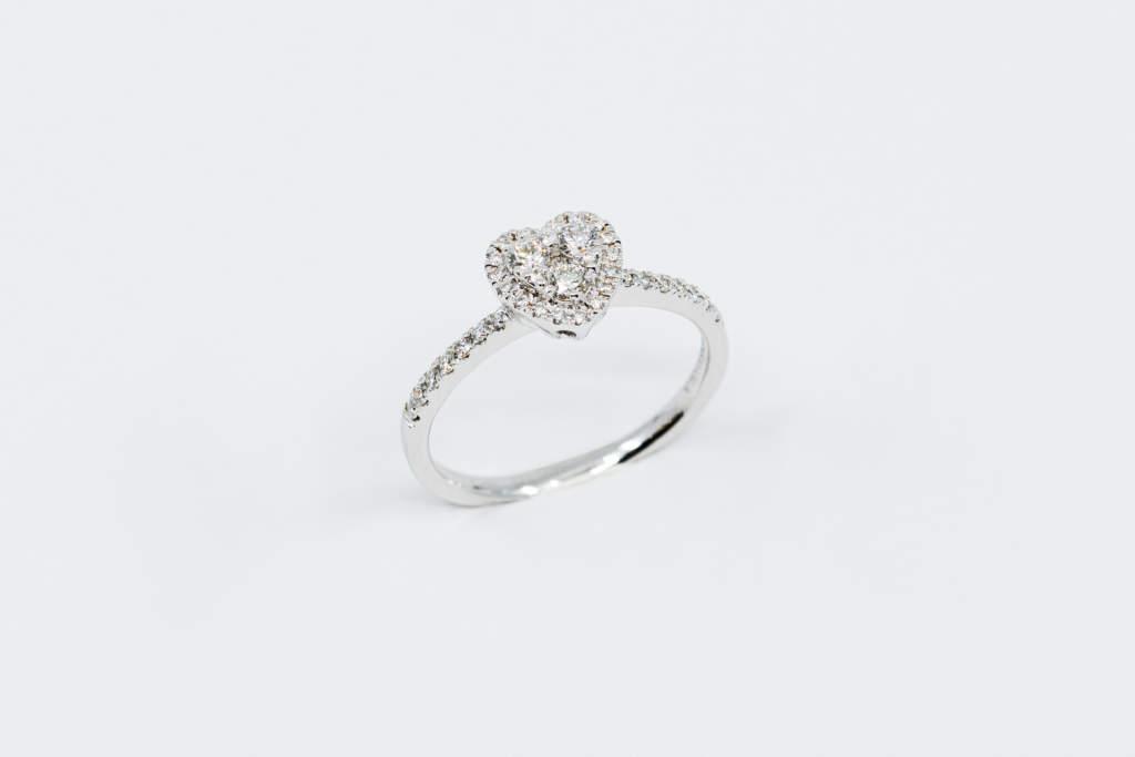 Anello cuore Liberty White Pavé Piccolo - idea regalo fidanzamento - Casavola Noci