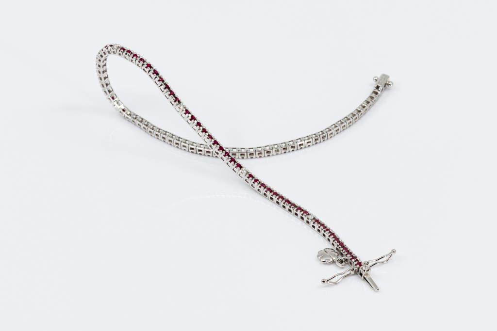 Bracciale tennis rubini e diamanti piccolo - Gioielleria Casavola Noci