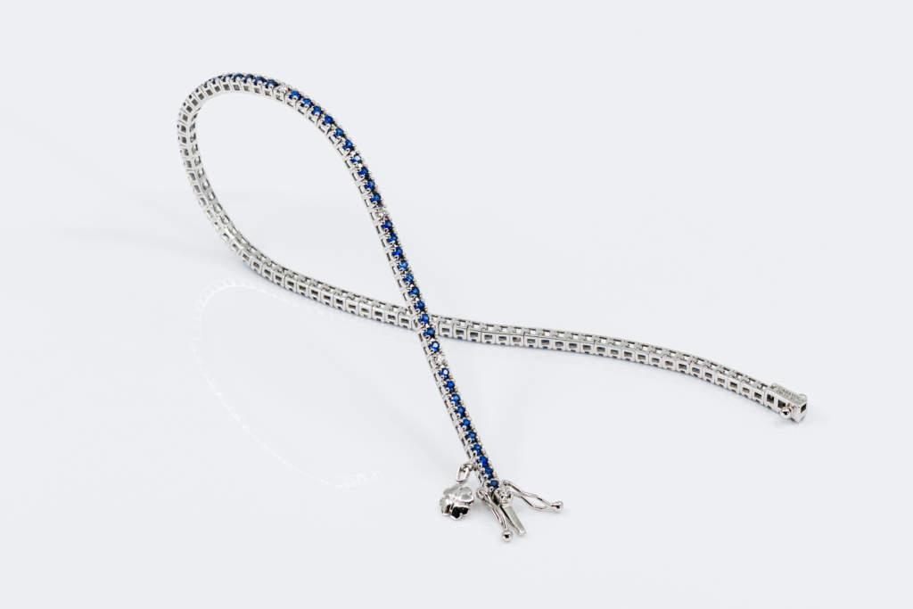 Bracciale tennis zaffiri e diamanti piccolo - Gioielleria Casavola Noci