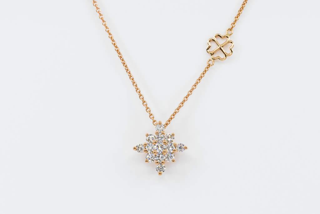 Collana Snowflake diamanti rosé - Gioielleria Casavola Noci - Misura M - Idea regalo donne