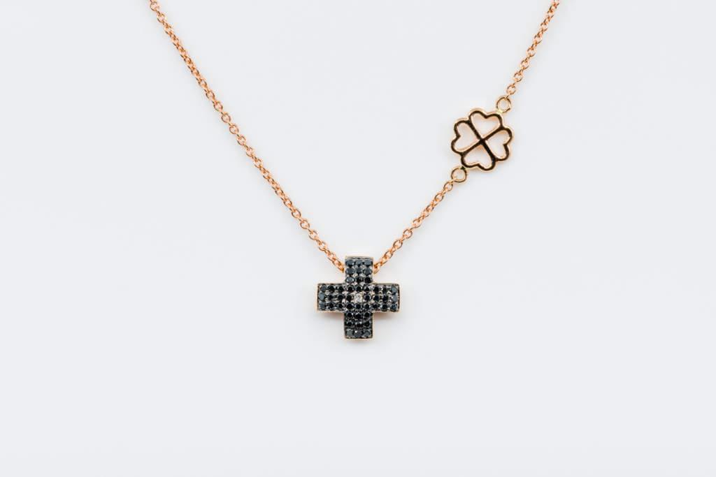 Collana croce diamanti neri Angelus Rosé Lite - Gioielleria Casavola Noci - idea regalo uomo relogioso - main