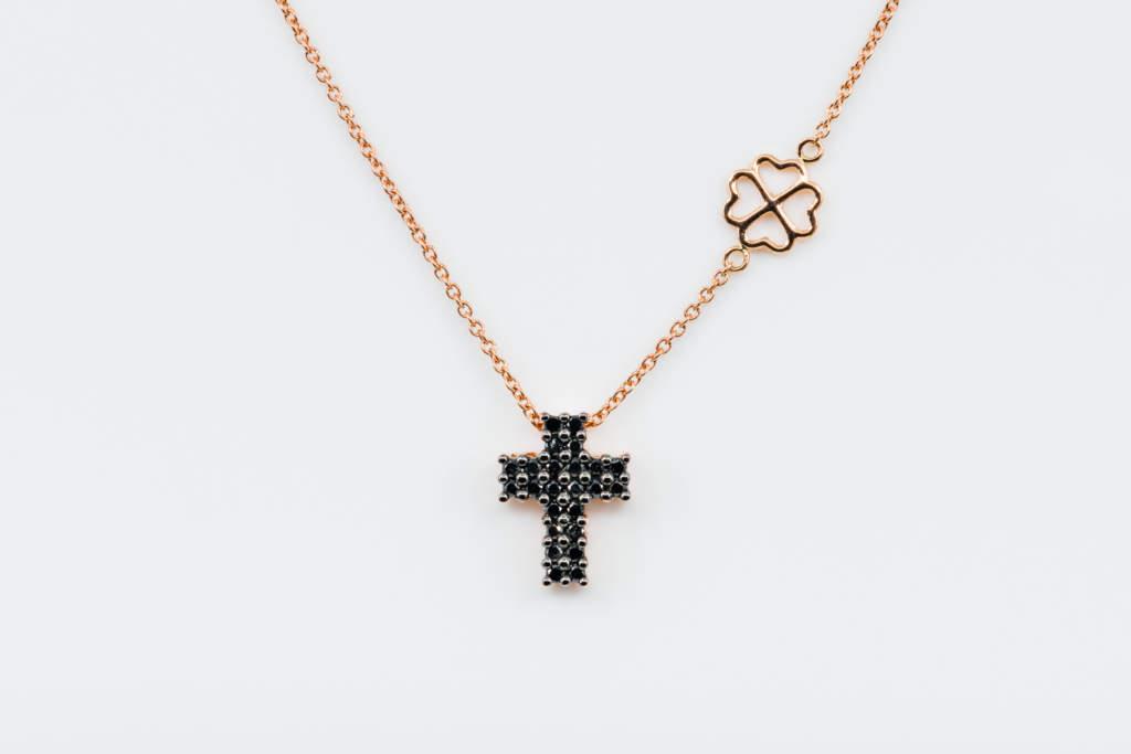 Collana croce diamanti neri Angelus Rosé Mens - Gioielleria Casavola Noci - idea regalo uomo religioso - gioielli maschili