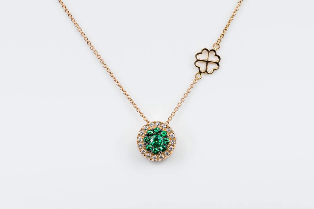 Collana Invisible tonda diamanti smeraldi Rose - Gioielleria Casavola Noci - idea regalo donne oro rosa san valentino