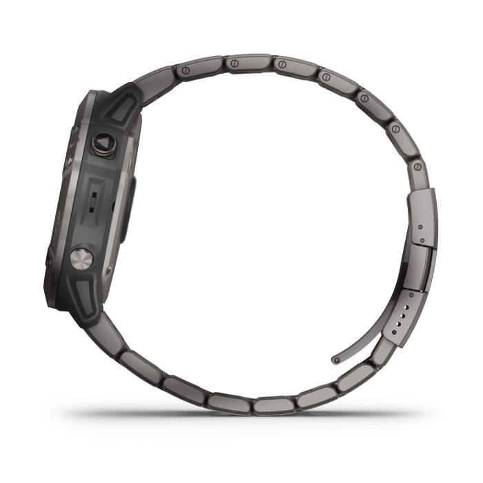 Garmin Fenix 6XPro Solar Titanium - Gioielleria Casavola Noci - laterale pulsanti - smartwatch GPS titanio