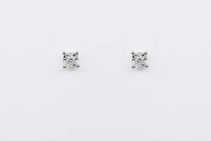 Orecchini punto luce diamante sfaccettato White - Gioielleria Casavola Noci - Misura L - Idea regalo donne anniversario fidanzata matrimonio