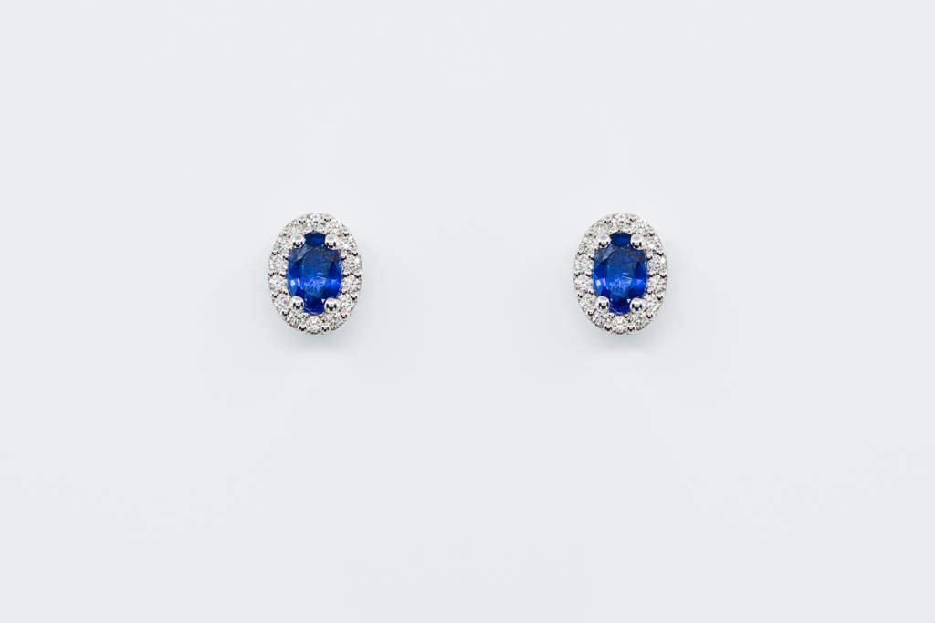 Crivelli orecchini ovali zaffiri diamanti | Gioielleria Casavola Noci | gioielli stile vintage donna