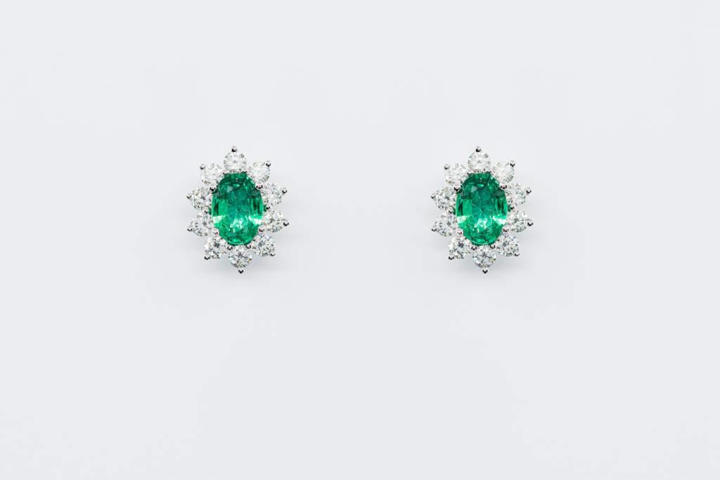 Orecchini smeraldo Sunflower Nature con diamanti | Gioielleria Casavola Noci | idea regalo donne | anniversario matrimonio