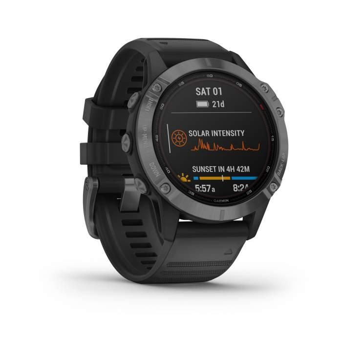 Garmin Fenix 6 Pro Solar slate gray cinturino black - Gioielleria Casavola Noci - smartwatch GPS per sportivi - front