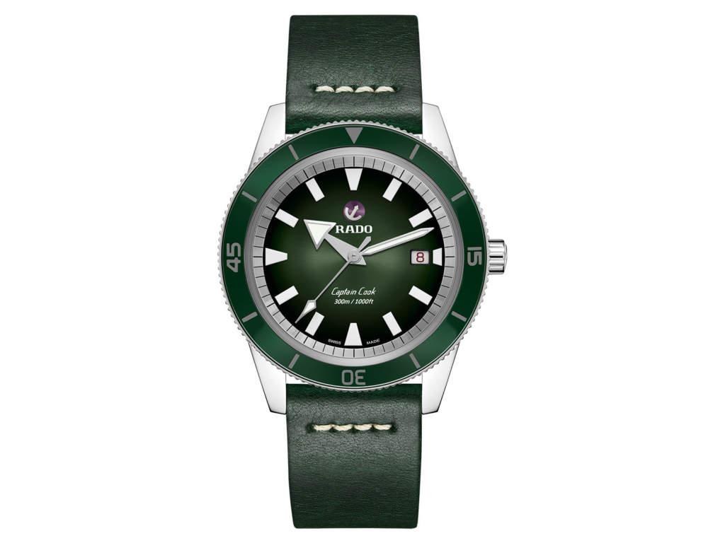 Rado Captain Cook R32105318 - orologio automatico ghiera verde - Gioielleria Casavola Noci - cinturino in pelle