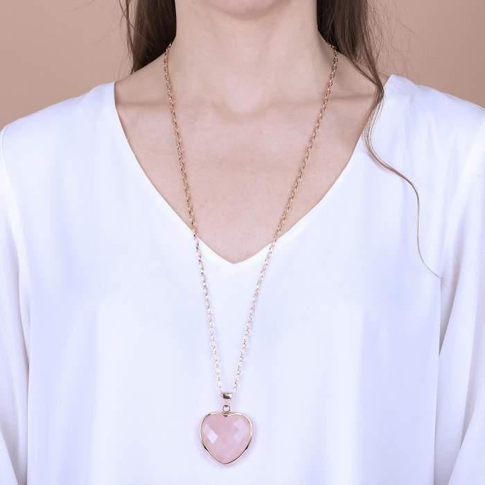 Collana Cuore Bronzallure WSBZ00048LGR idea regalo donna classico - Gioielleria Casavola Noci - indossato