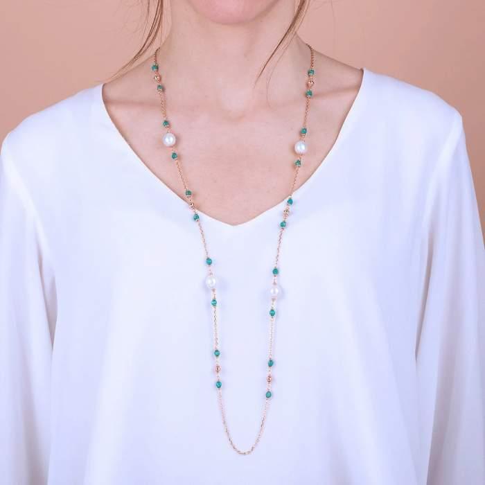 Collana perle Bronzallure WSBZ01361AZPRL idea regalo donna compleanno - Gioielleria Casavola Noci - indossata