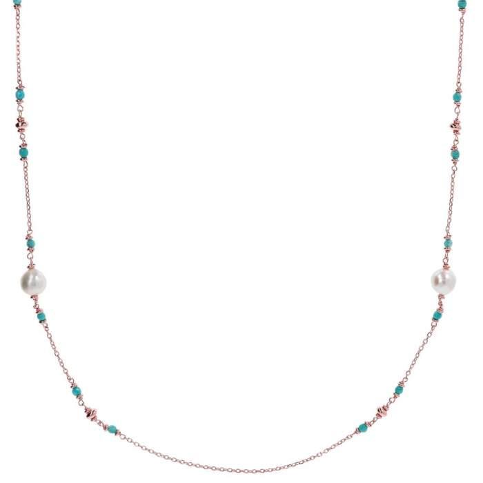Collana perle Bronzallure WSBZ01361AZPRL idea regalo donna compleanno - Gioielleria Casavola Noci - main