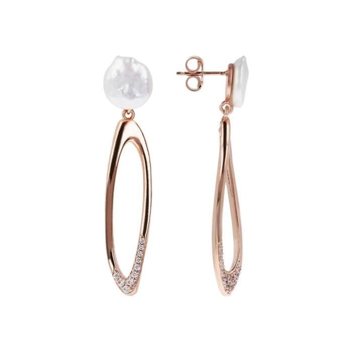Orecchini perla Bronzallure WSBZ01488W idea regalo donna compleanno - Gioielleria Casavola Noci - dettaglio