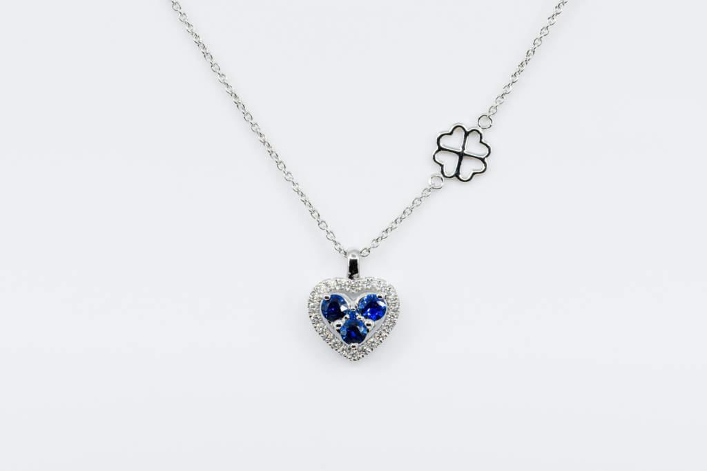 Collana cuore invisible zaffiri e diamanti White - Gioielleria Casavola Noci - idee regalo donne