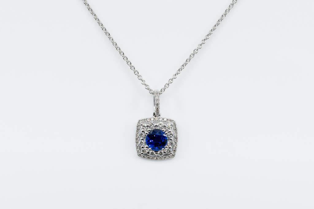 Crivelli pendente quadrato zaffiro e diamanti - Gioielleria Casavola di Noci - idee regalo donne
