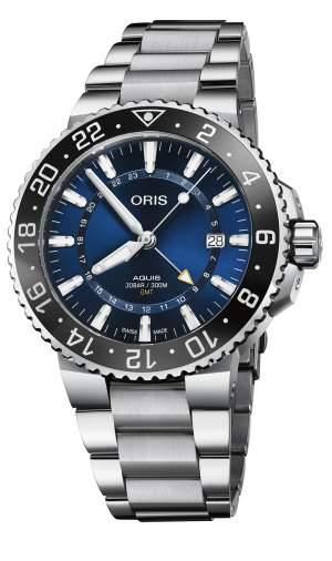 Oris Aquis Date GMT 01 798 7754 4135-07 8 24 05PEB - Gioielleria Casavola Noci - orologio automatico uomo acciaio