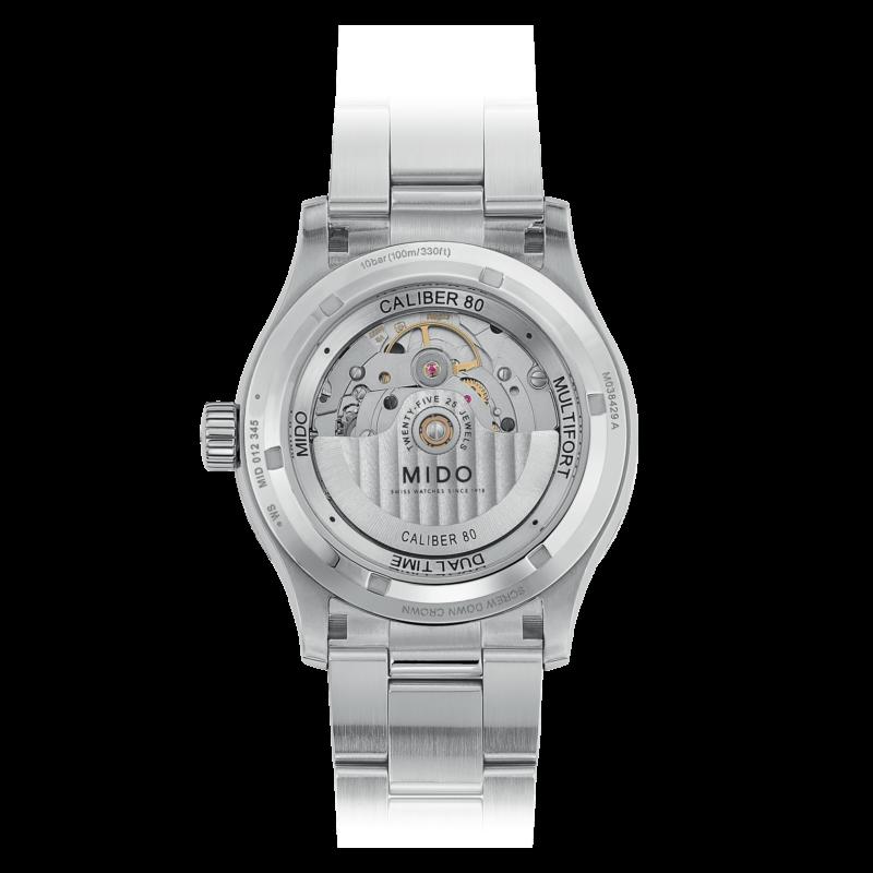 Mido Multifort Dual Time M038.429.11.041.00 - Gioielleria Casavola Noci - orologio automatico GMT acciaio - fondello movimento a vista - idee regalo uomo