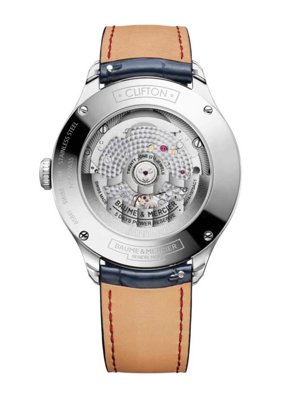 Baume et Mercier Clifton Baumatic M0A10549 - Gioielleria Casavola Noci - orologio automatico fasi lunari - fondello - idee regalo uomo