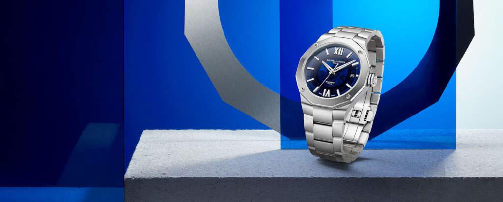 Baume et Mercier Riviera Collection - Gioielleria Casavola Noci - Edizione 2021 - banner promozionale edizione Baumatic blu