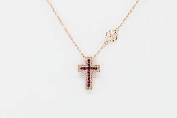 Collana croce Grand Angelus rubini rosè - Gioielleria Casavola Noci - idee regalo battesimo - maschietto e femminuccia