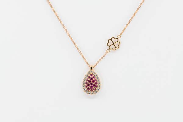 Collana goccia Liberty Rose rubini - Gioielleria Casavola Noci - pendente speciale - idee regalo per ogni occasione