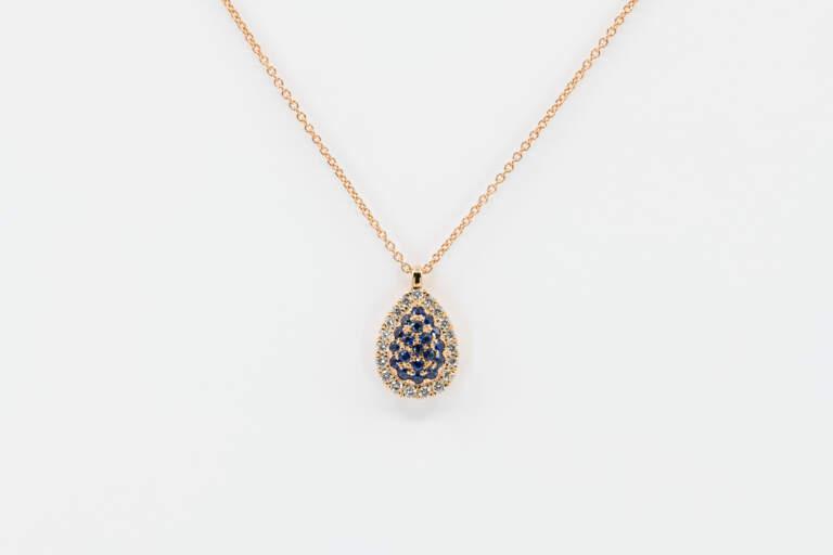 Collana goccia Liberty Rose zaffiri - Gioielleria Casavola Noci - idee regalo donne - main - gioielli per ogni occasione