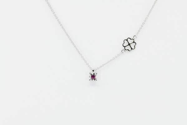 Collana punto luce rubino Starlight White - Gioielleria Casavola Noci - idee regalo donne per ogni occasione