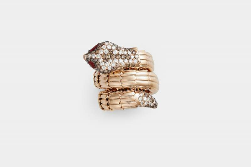 Crivelli anello serpente oro diamanti brown - Gioielleria Casavola Noci - intero - idee regalo donne per occasioni molto importanti