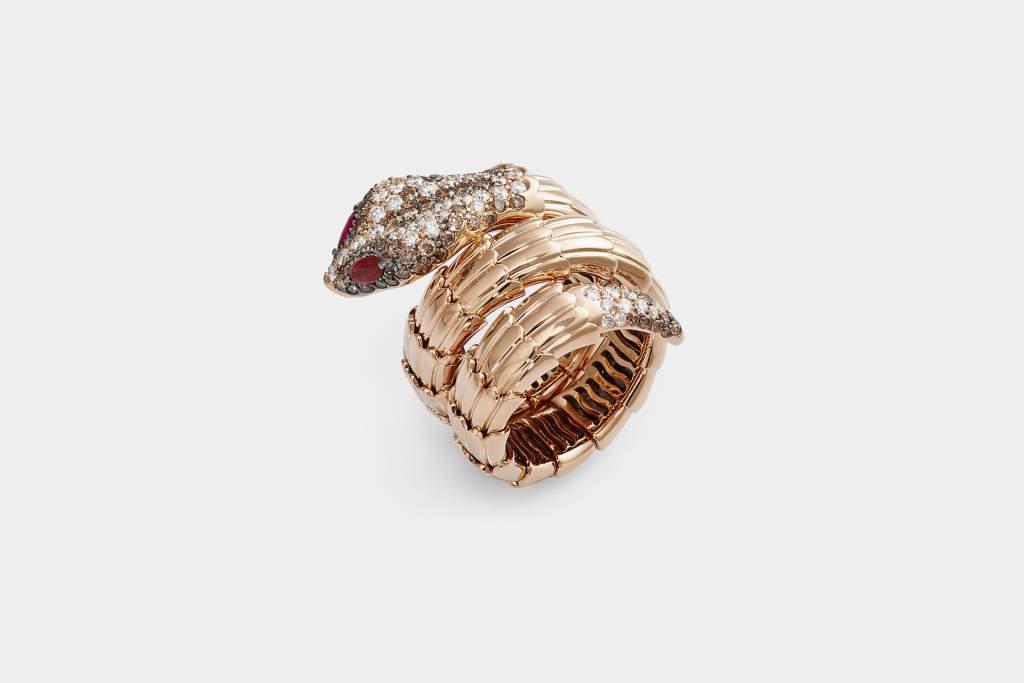 Crivelli anello serpente oro diamanti brown - Gioielleria Casavola Noci - main - idee regalo donne per occasioni molto importanti