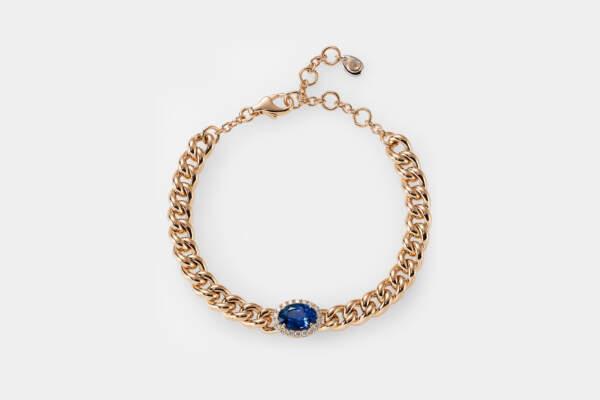Crivelli bracciale groumette oro rosa zaffiro - Gioielleria Casavola Noci - idee regalo donne - pavé di diamanti