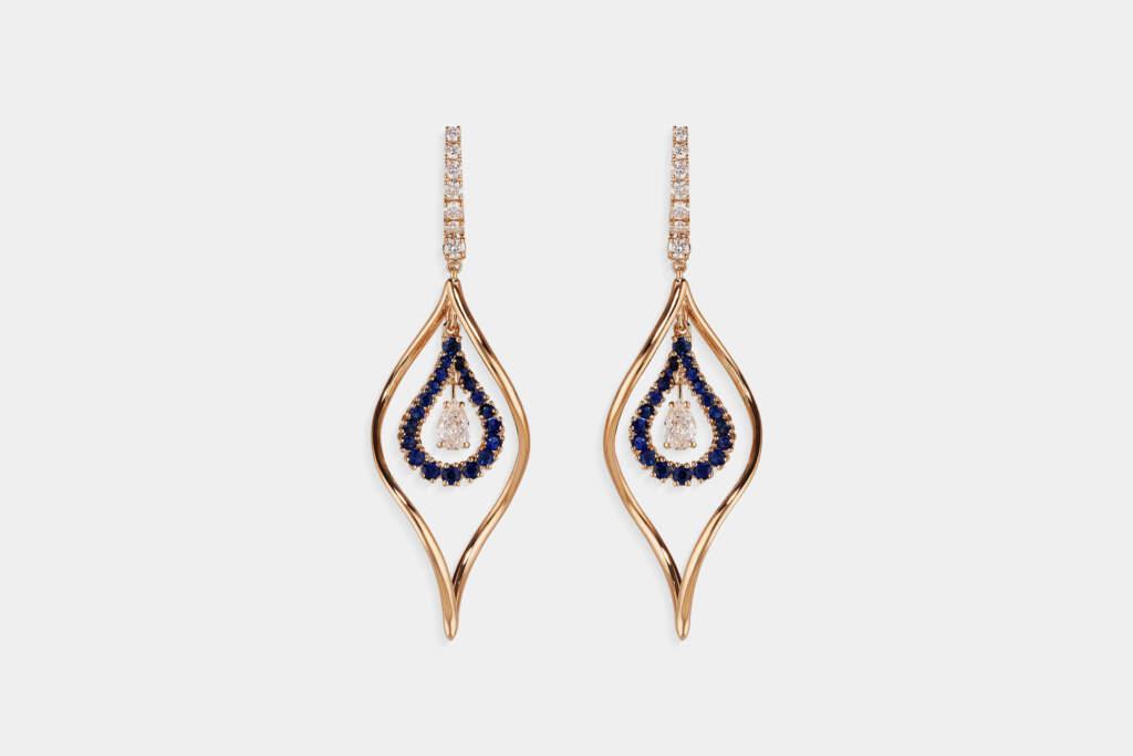 Crivelli orecchini fantasia pendenti zaffiri - Gioielleria Casavola Noci - idee regalo donne - main - diamanti taglio goccia