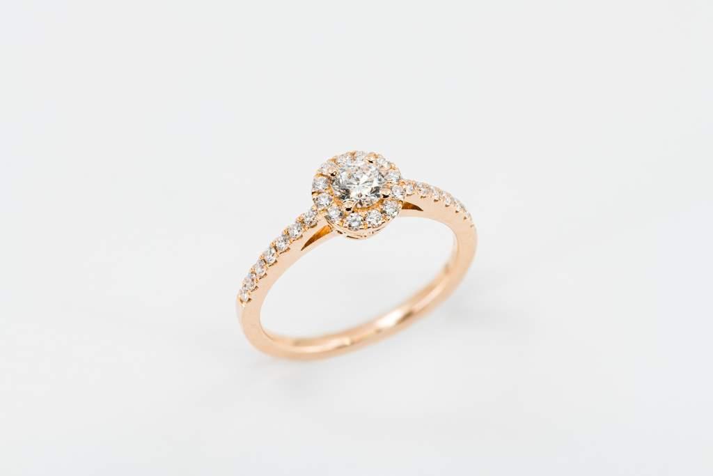 Anello solitario tondo rosé pavé - Gioielleria Casavola Noci - anello di fidanzamento - proposta matrimonio