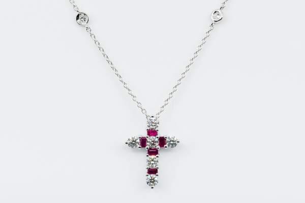 Collana Croce Fidelis White Rubini e Diamanti - Gioielleria Casavola Noci - idee regalo per battesimo - comunione - cresima