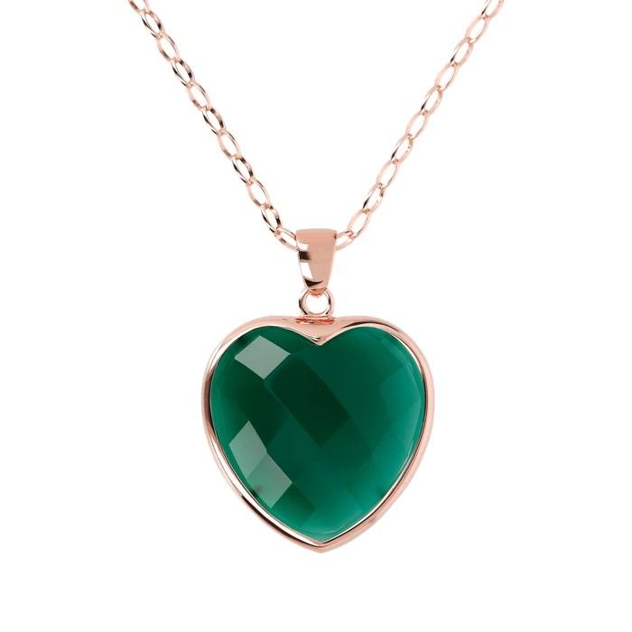 Collana Cuore Bronzallure WSBZ00048LGGAG - Gioielleria Casavola Noci - idee regalo donna economico colore verde - main