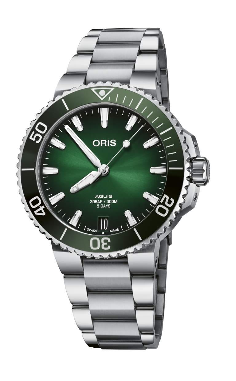 Oris Aquis Date calibre 400 01 400 7769 4157-07 8 22 09PEB - Gioielleria Casavola Noci - orologio automatico subacqueo quadrante verde