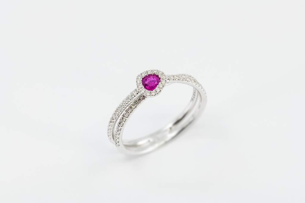 Crivelli anello cuore rubino pavé - Gioielleria Casavola Noci - idee regalo donne