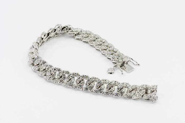 Bracciale groumette oro bianco Prestige - Gioielleria Casavola Noci - cuban link diamonds bracelet