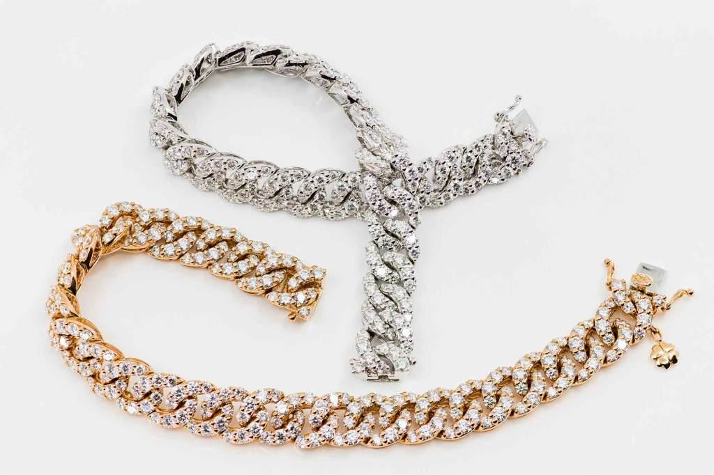 Bracciale groumette oro bianco ed oro rosa collezione Prestige - Gioielleria Casavola Noci - Cuban Link Chain Bracelet - promo photo - Miami gold