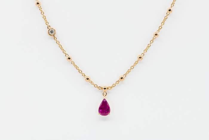 Crivelli pendente goccia rubino - Gioielleria Casavola Noci - idee regalo collana oro rosa