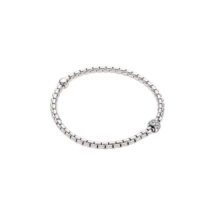 Fope bracciale Flex it Eka oro bianco 733BPAVE - Gioielleria Casavola Noci - idee regalo donne