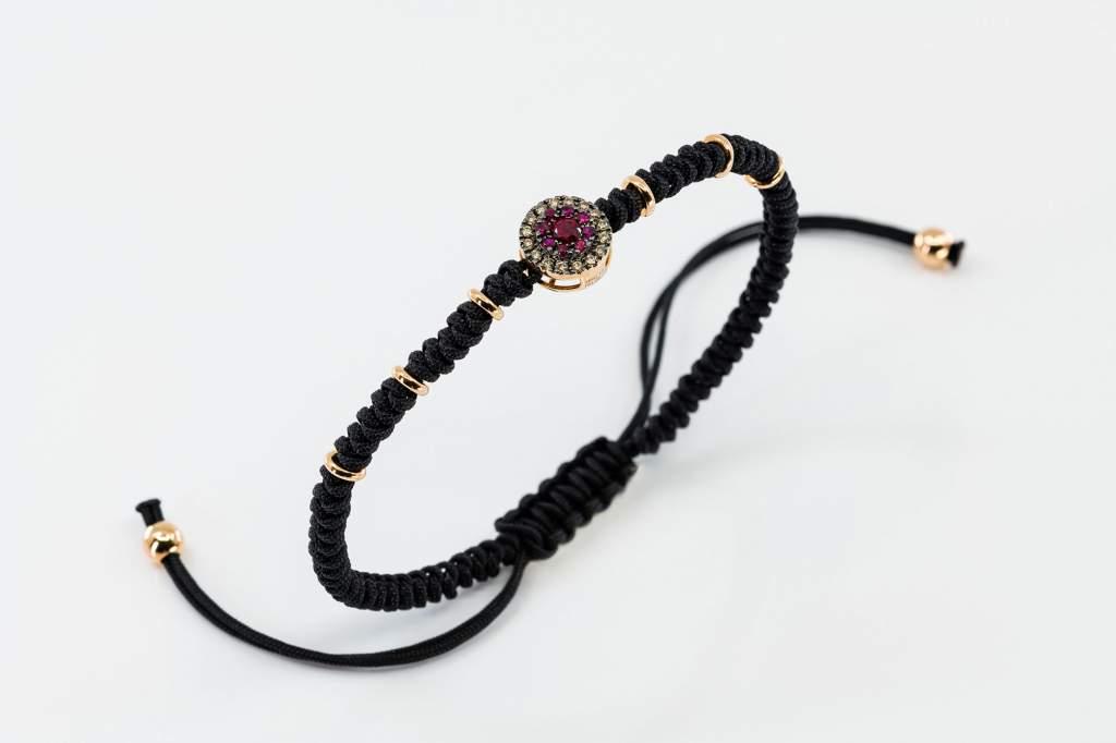 Bracciale tessuto oro rosa rubini diamanti brown Invisible - Gioielleria Casavola Noci - idee regalo 18 anni - gioielli per giovani