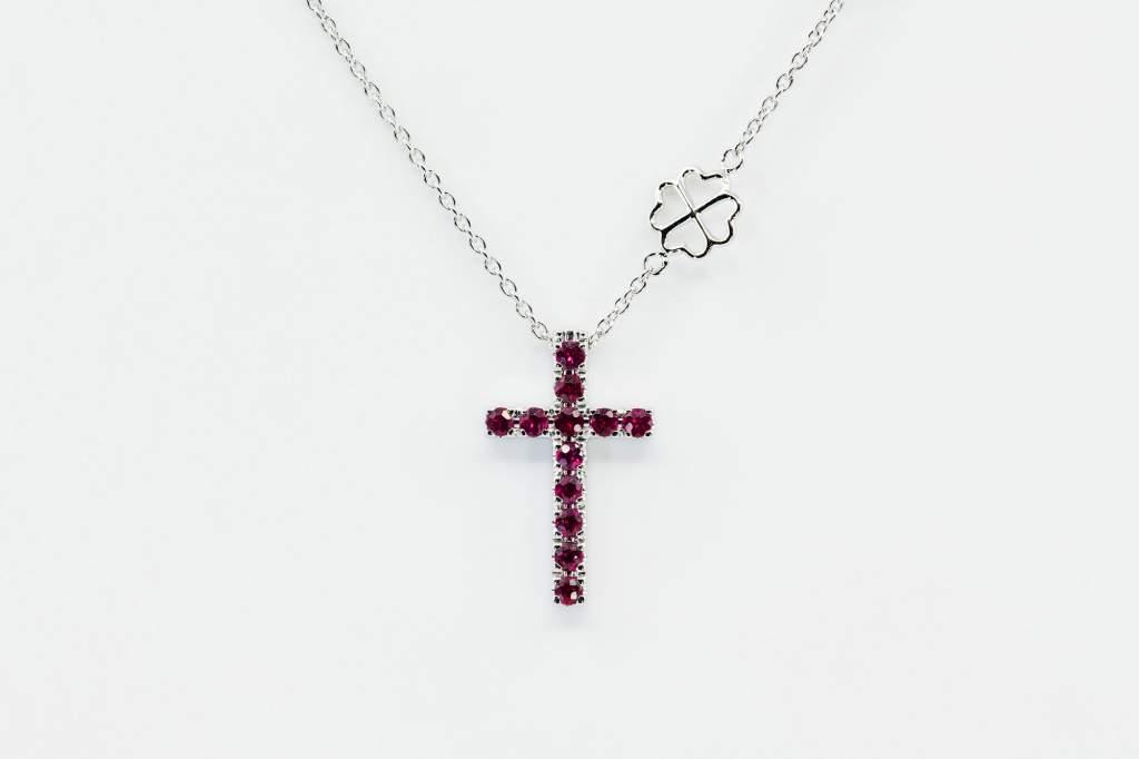 Collana croce rubini Angelus base white - Gioielleria Casavola Noci - idee regalo comunione
