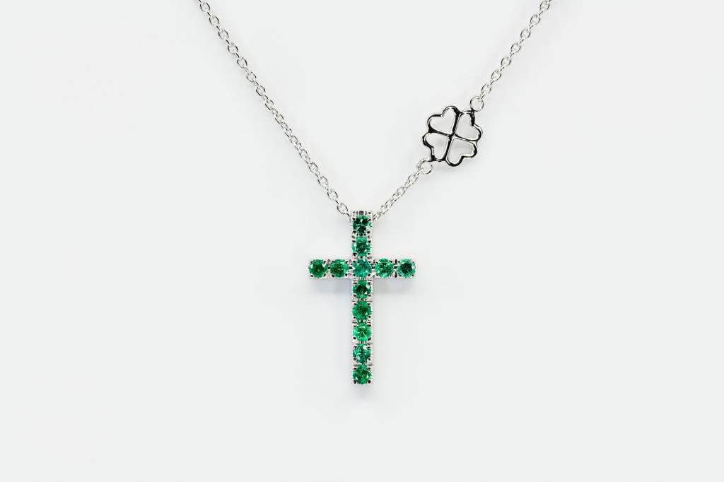 Collana croce smeraldi Angelus base white - Gioielleria Casavola Noci - idee regalo prima comunione