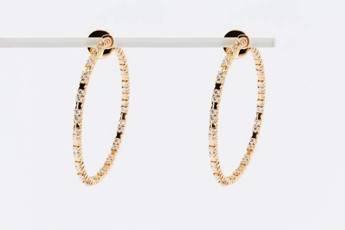 Crivelli orecchini cerchio fantasia pavé oro rosa - Gioielleria Casavola Noci - idee regalo donne